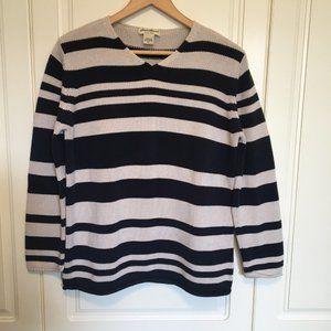 Eddie Bauer striped cotton pullover v-neck sweater